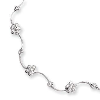 Box Catch Closure Rhodium-plated Cubic Zirconia Flower Wave Necklace - Length: 16 to 18