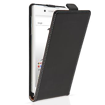 Caseflex Sony Xperia Z5 echt leder Flip Case - zwart