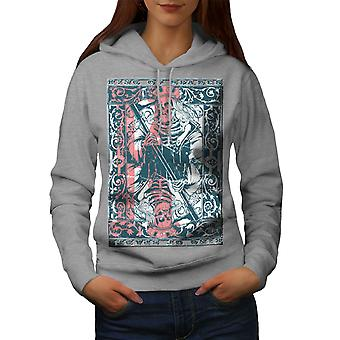King Skulls Dead Gamble Women GreyHoodie | Wellcoda