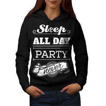 Sleep Party Never Funny Women BlackHoodie | Wellcoda