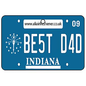 Indiana - Best Dad License Plate Car Air Freshener