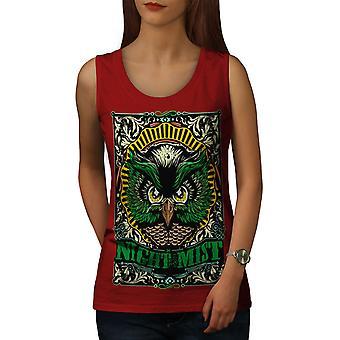 Night Mist Owl Fashion Women RedTank Top | Wellcoda