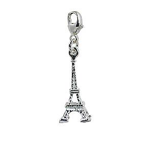 Silver 31x9mm Eiffel Tower Charm on a lobster trigger