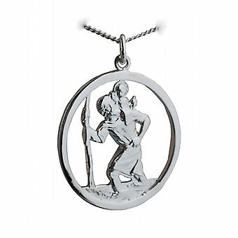 Silver 30mm round cut out St Christopher Pendant with a curb Chain 24 inches