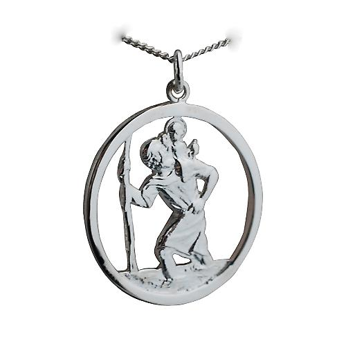 Silver 30mm round cut out St Christopher Pendant with Curb chain