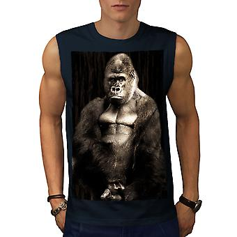Wild Animal Gorilla Beast Men NavySleeveless T-shirt | Wellcoda