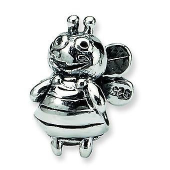Sterling Silver Polished Antique finish Reflections Kids Bumblebee Bead Charm