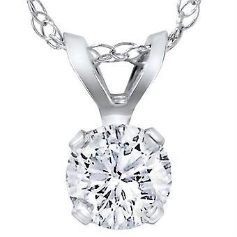 1/5ct جولة الماس سوليتير قلادة 14 ك الذهب الأبيض