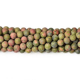 Strand 60+ Green/Orange Unakite 6mm Frosted Plain Round Beads CB38416-1
