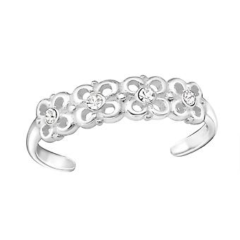 Flowers - 925 Sterling Silver Toe Rings - W26207x