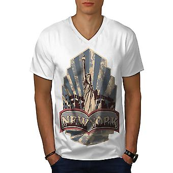 Vintage Liberty New York Men WhiteV-Neck T-shirt | Wellcoda