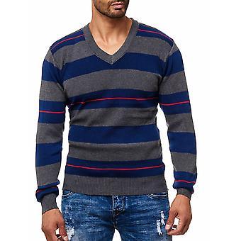 Suéter V cuello manga larga hombres fina tejidas con tiras