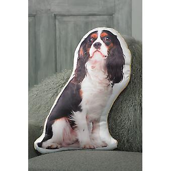 Adorable tricolour cavalier king charles spaniel shaped cushion