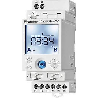 DIN rail mount timer Operating voltage: 230 Vdc, 230 V AC Finder 12.62.8.230.0000 2 change-overs 16 A 250 V AC Week settings
