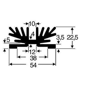 Heat sink 3.5 C/W (L x W x H) 54 x 37.5 x 22 mm SOT 32 Fischer Elektronik SK 65 37,5 SA-1 X M3