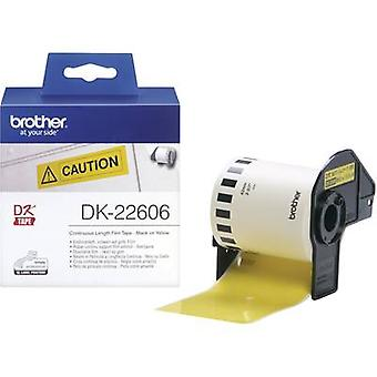 Brother DK-22606 Label roll 62 mm x 15.24 m Film Yellow 1 Rolls Permanent DK22606 All-purpose labels