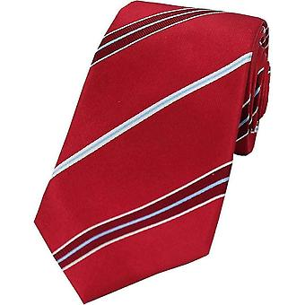 David Van Hagen Striped Silk Tie - Red/Light Blue
