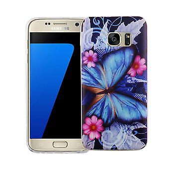 Mobiele case voor Samsung Galaxy S7 cover case beschermende zak motief slim TPU + armor bescherming glas 9 H blauwe vlinder
