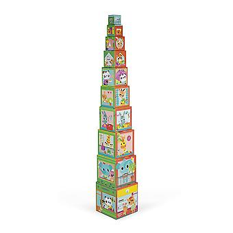 City Friends Square Stacking Pyramid by Janod 12m+