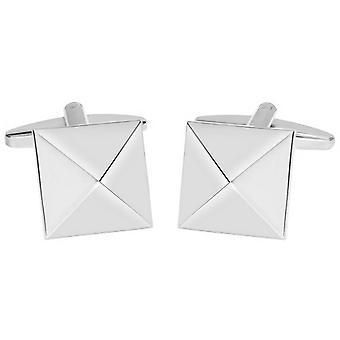David Van Hagen glänzend quadratische Pyramide Design Manschettenknöpfe - Silber