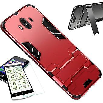 Para Apple iPhone XS MAX 6,5 polegadas metal case TPU estilo híbrido do silicone vermelho + 0,26 mm d 2,5 H9 temperado vidro manga de tampa da caixa do saco