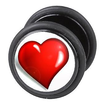 Falske snyder øret Plug, ørering, krop smykker, hjerte