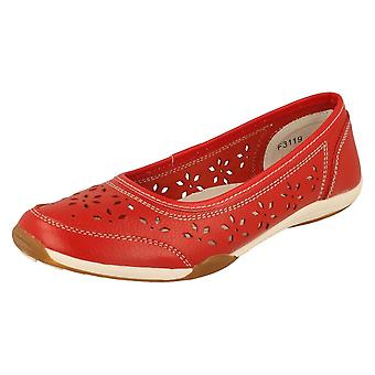 Ladies Down to Earth Red Leather Ballet Flats F3119 Size 6 UK