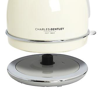 Charles Bentley 3000W 1.7 Litre Cream Cordless Dome Kettle Fast Boil 360 Swivel Base - Free 2 Year Guarantee
