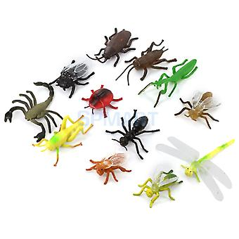 Plastic PVC Insect Animal Model Kids Toy 12 PCs multi-color Insect model toys fun Animal Models Creative Gifts presents for kids