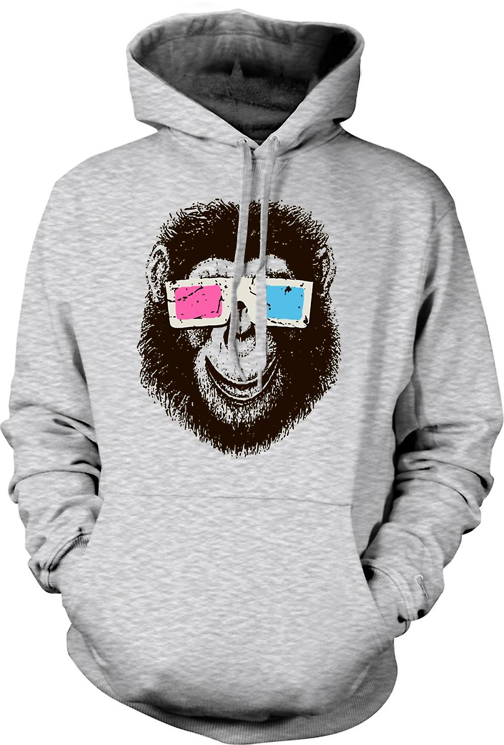 Mens Hoodie - Monkey Ape 3D Glasses - Cool Graphic Design