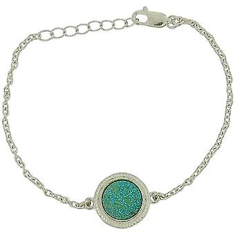 Jo For Girls Sterling Silver Green Druzy Charm Bracelet  6.25+1