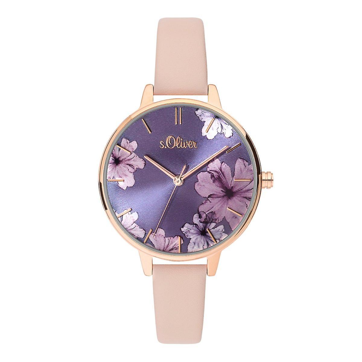 Montre montre-bracelet en cuir s.Oliver féminin SO-3778-LQ