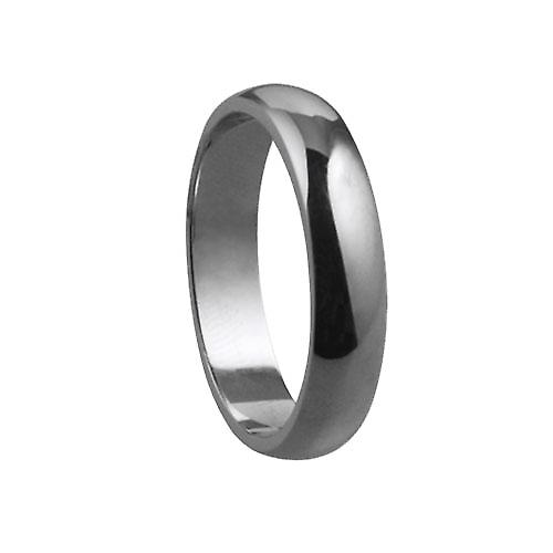 9ct White Gold plain D shaped Wedding Ring 4mm wide in Size K