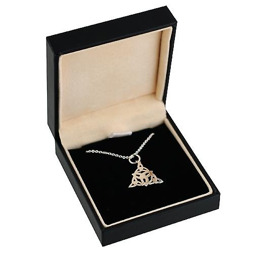 Silver 17x16mm triple Celtic Trinity knot Pendant with a rolo Chain 14 inches Only Suitable for Children