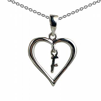 Silver 18x18mm initial F in a heart Pendant with a rolo Chain 20 inches