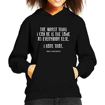 The Worst Thing I Can Be Arnold Schwarzenegger Quote Kid's Hooded Sweatshirt
