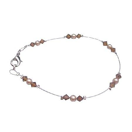 Wedding Bronze Pearls Brown Crystals Jewelry Swarovski Lover Bracelet