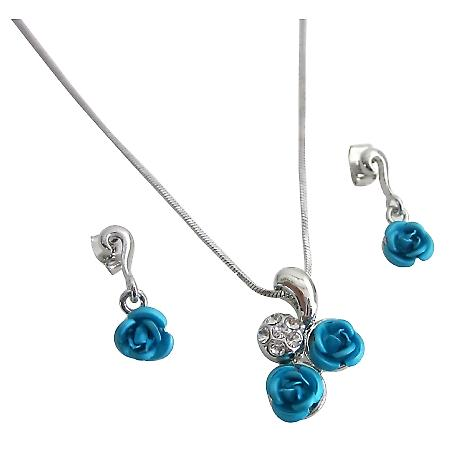 Christmas Gift Idea w/ Gift Box Turquoise Rose Diamante Pendant Set