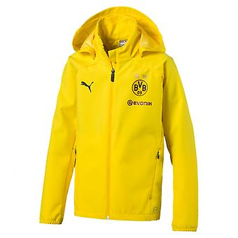 PUMA BVB rain Jr with sponsor logo Kids Cyber yellow rain jacket
