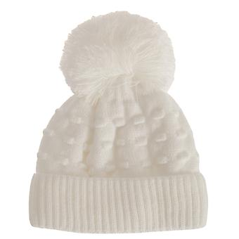 Baby Girls Knobbled Winter Bobble Hat