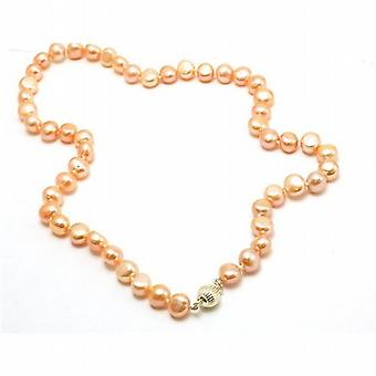 TOC Baroque Dyed Peach Button Freshwater Cultured Pearl Necklace 18 Inch
