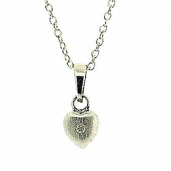 Jo For Girls Sterling Silver 3D Matt Diamond Heart Pendant with Chain