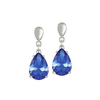 Eternal Collection Seduction Teardrop Sapphire Blue Crystal Silver Tone Drop Pierced Earrings