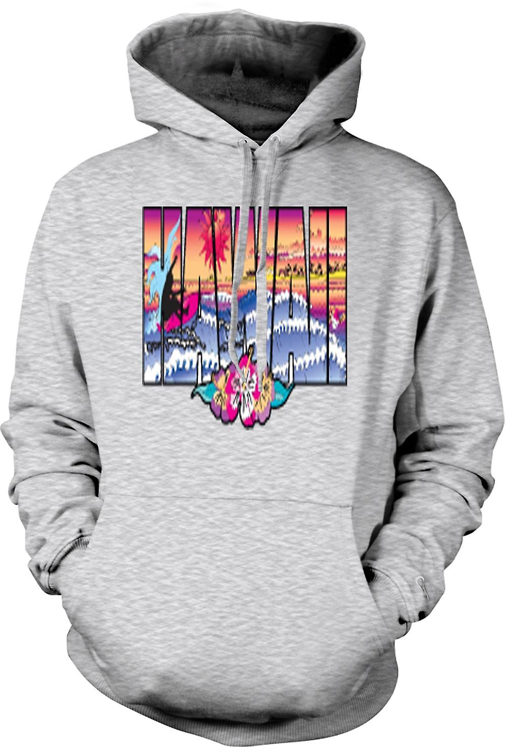 Mens Hoodie - Hawaii Lettering con 80s Design