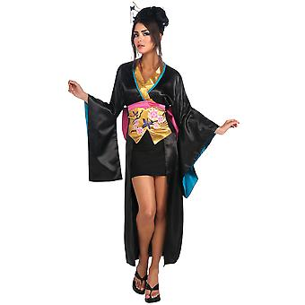 Geisha Japanese Asian Ninja Warrior Black Kimono Dress Up Women Costume