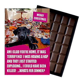 Black Labrador Funny Christmas Gift For Dog Lover Boxed Chocolate Greeting Card Xmas Present