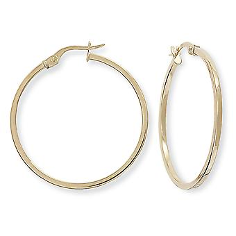 Jewelco London Ladies 9ct Yellow Gold 1.5mm Square Tube Round Hoop Earrings - 30mm