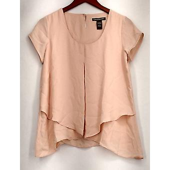Kate & Mallory Top Short Sleeve Invert Pleat Layered Front Pink A416425