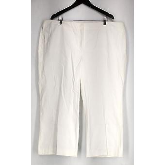 Alfani Plus Pants Cropped Trouser Tummy Control White Womens