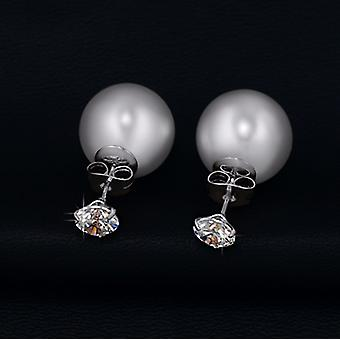 Two Ways To Wear - Rhodium Plated Simulated Pearl And Cubic Zirconia Earrings
